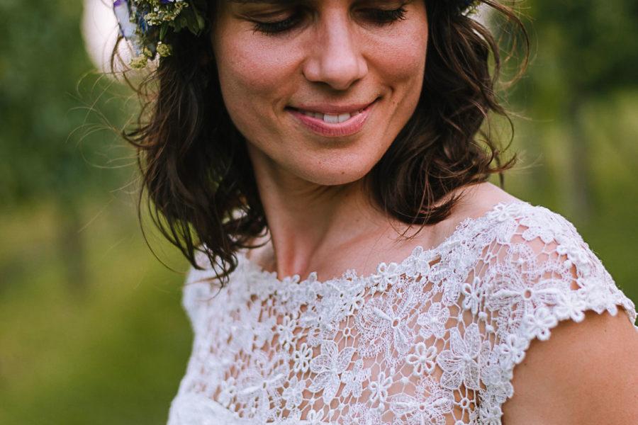 fotografo matrimonio Padova, ritratti sposa, fiori tra i capelli